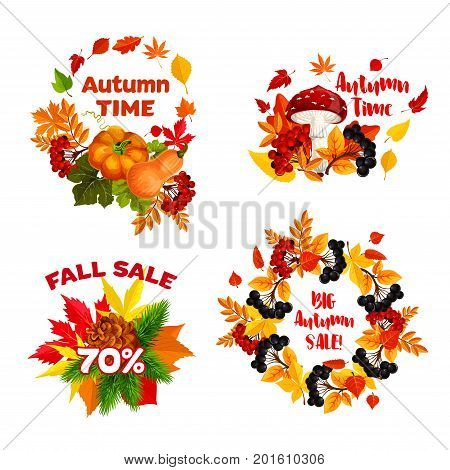 Autumn Big Sale icons and Fall Time design templates of 70 percent discount off for seasonal promo shopping. Vector wreath set of maple leaf, oak acorn or rowan berry and pumpkin harvest with mushroom