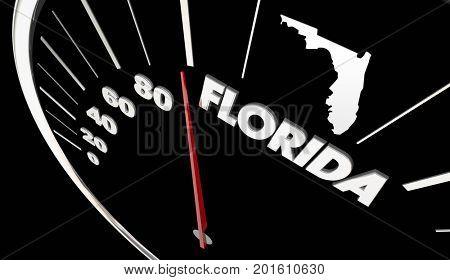 Florida FL State Speedometer Destination Best Location 3d Illustration