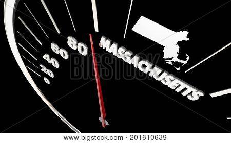 Massachusetts MA State Speedometer Destination Best Location 3d Illustration