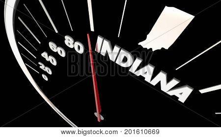 Indiana IN State Speedometer Destination Best Location 3d Illustration