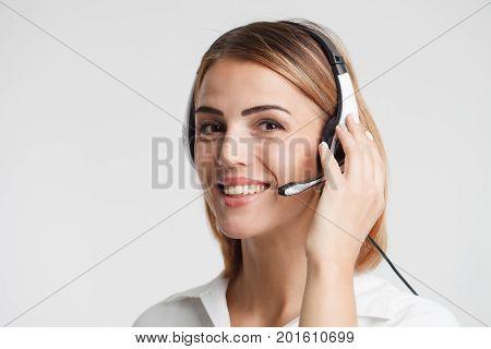 Portrait Of Call Center Worker Accompanied .telemarketing Operat
