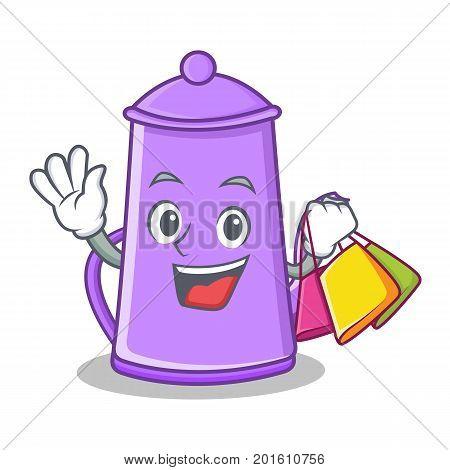 Shopping purple teapot character cartoon vector illustration