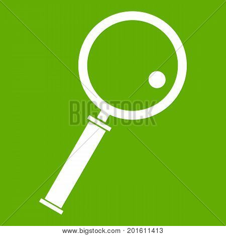 Loupe icon white isolated on green background. Vector illustration