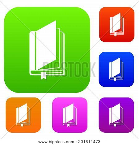 Book with bookmark set icon in different colors isolated vector illustration. Premium collection