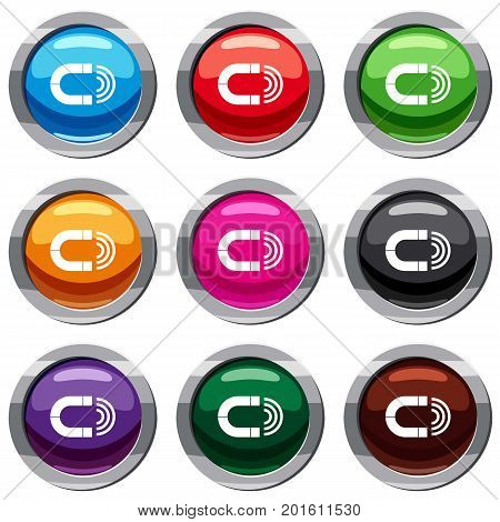 Magnet set icon isolated on white. 9 icon collection vector illustration