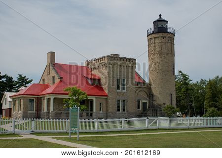 Historic Old Mackinaw Point Lighthouse, Mackinaw City Michigan