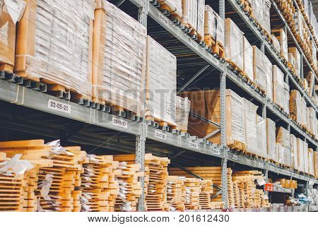 BANGKOK THAILAND - DECEMBER 03 2016 : Warehouse aisle in an IKEA store. Founded in 1943 IKEA is the world's largest furniture retailer.