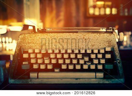 Antique Typewriter. Vintage Typewriter Machine Closeup with vintage filter