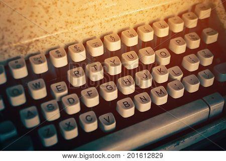 Antique Typewriter. Vintage Typewriter Machine Closeup Vintage filter