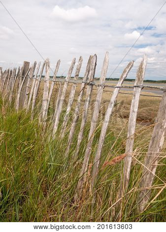 Wooden Old Fence Outside Coast Line Walking Path