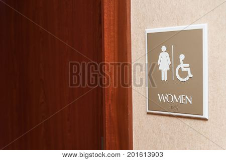 Women Restroom Sign Close Up