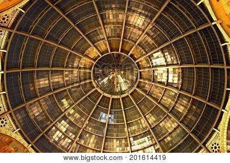 Glass Dome Of Galleria Vittorio Emanuele Ii Shopping Gallery. Milan, Italy