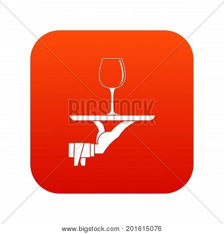 Waiter hand holding tray with wine glass icon digital red for any design isolated on white vector illustration