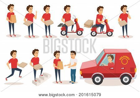 Food delivery service. Order from restaurant. Character set. Man courier drives scooter, car, holds pizza box, grocery paper bag, cell phone, gives order to buyer, run, climbing stairs. Boy in uniform