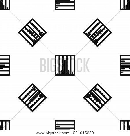 Man behind jail bars pattern repeat seamless in black color for any design. Vector geometric illustration