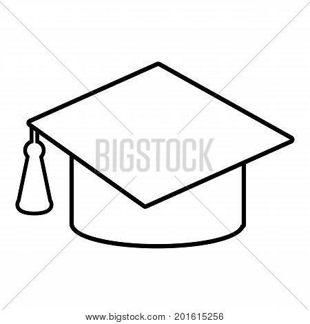 Graduation cap icon. Outline illustration of graduation cap vector icon for web
