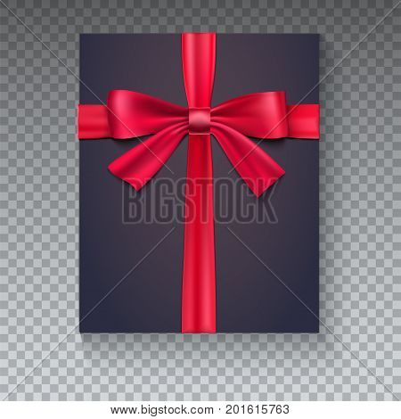 Black gift box with red ribbon isolated on transparent background, view of the top. Realistic black gift icon with bow, 3D illustration