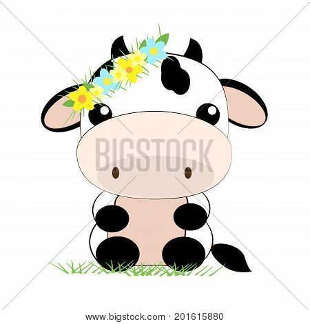 Vector flat illustration. Cute cow flower.Cartoon animal. A nice little cow is sitting on the grass. Wreath of flowers. Flower decoration.