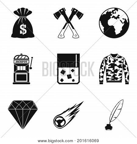 Act icons set. Simple set of 9 act vector icons for web isolated on white background
