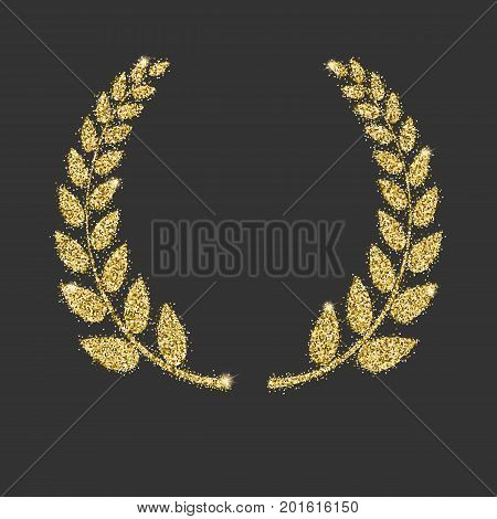 Laurel wreath icon with glitter effect, isolated on black background. Outline icon of laurel wreath. Symbols, vector pictogram. Symbol from golden particles dust.