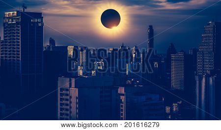 Amazing Scientific Natural Phenomenon. Total Solar Eclipse Glowing On Sky.