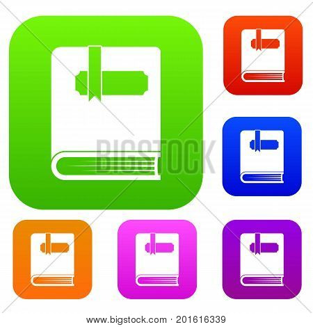 Thick book with bookmark set icon in different colors isolated vector illustration. Premium collection