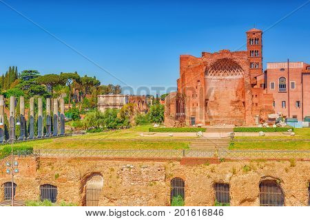 Archaeological And Historical Objects In Rome, United By The Name - Roman Forum. View On Temple Of V