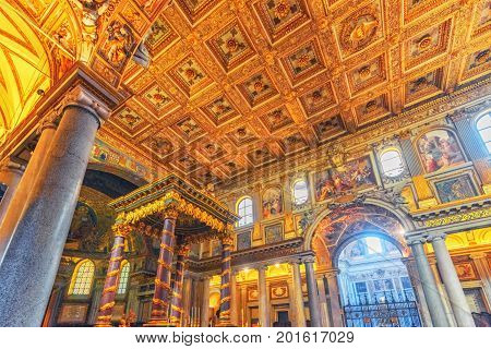 Rome, Italy - May 08, 2017 : Inside The Basilica Of Santa Maria Maggiore (on Piazza Di Santa Maria M