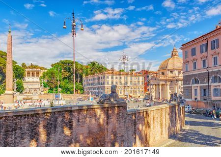 Rome, Italy - May 08,2017 : One Of The Most Beautiful Roman Squares Is The People's Square (piazza D