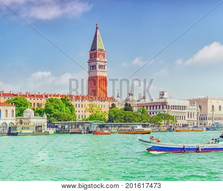 Venice, Italy - May 12, 2017 : Views Of The Most Beautiful Canal Of Venice - Grand Canal, And Campan