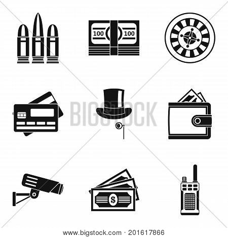 Shooting range icons set. Simple set of 9 shooting range vector icons for web isolated on white background