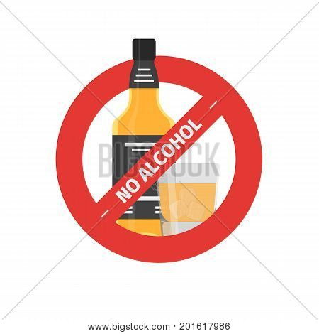 Vector flat icon of concept stop drinking alcohol with whiskey bottle with glass. Vector realistic flat no alcohol icon isolated on white background.