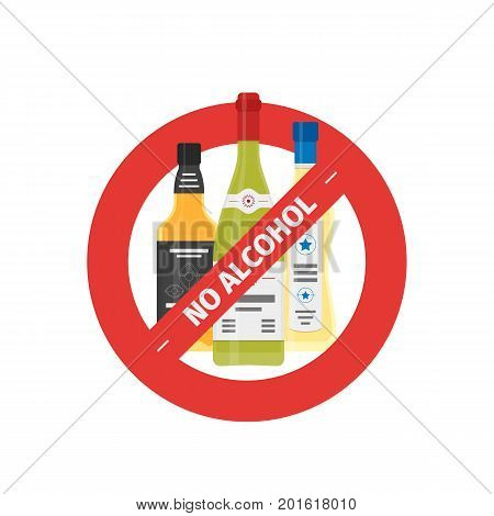 Vector flat icon of concept stop drinking alcohol with whiskey, wine and martini bottles. Vector realistic flat no alcohol icon isolated on white background.
