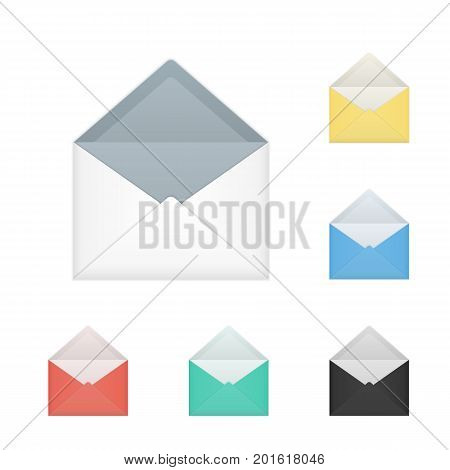 Vector set of opened different colors, incl. white, black and red, envelopes. Isolated on white background mockup template of bright colored paper envelope for business letter, advertisement, invitation cards or money.