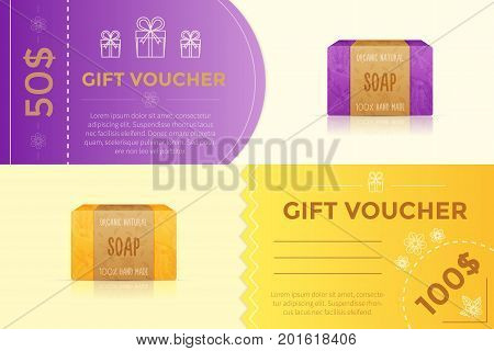 Vector gift voucher template for handmade soap store. Present card for natural organic handmade cosmetics with soap bar and gift boxes.