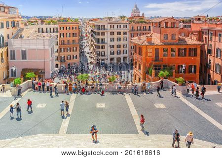 Rome, Italy- May 08, 2017:  Beautiful Landscape  Historical View Of The Rome, Street, People, Touris