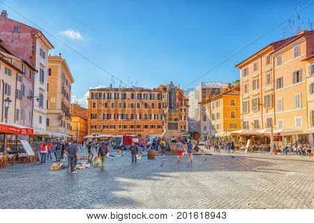 Rome, Italy - May 09, 2017 : Square Campo De Fiori, Rome. Campo Dei Fiori Is A Rectangular Square In