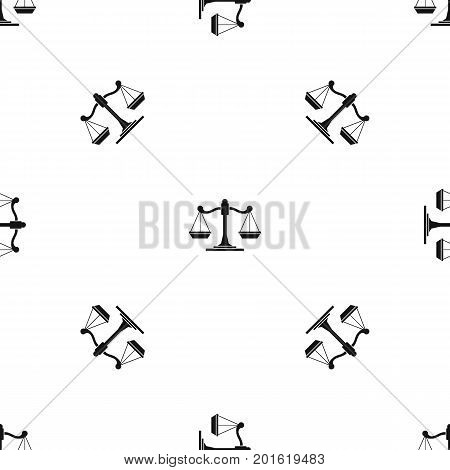 Scales of justice pattern repeat seamless in black color for any design. Vector geometric illustration