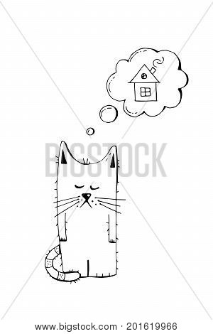 Abandoned kitten, adopt, animal cruelty, hand drawn illustration. Sad homeless kitten looking for a home, linear vector sketch