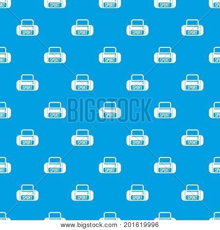 Sports bag pattern repeat seamless in blue color for any design. Vector geometric illustration