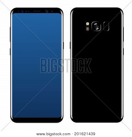 smart phone front and side vector drawing isolated on white background
