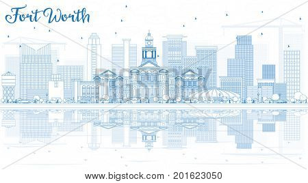 Outline Fort Worth Skyline with Blue Buildings and Reflections. Business Travel and Tourism Concept with Modern Architecture.