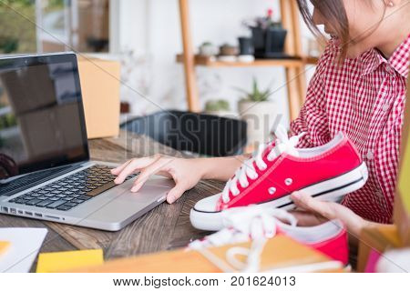 Start Up Small Business Owner Working With Computer At Workplace. Freelance Woman Entrepreneur Sme S
