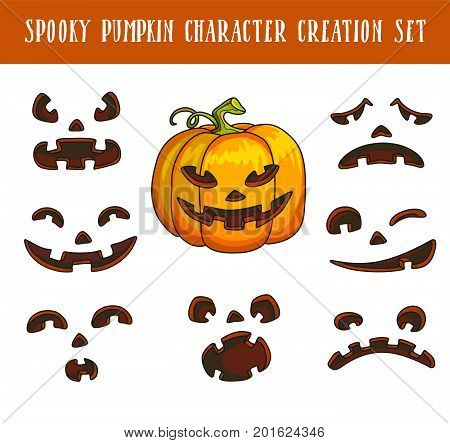 Spooky traditional halloween pumpkin character creation isolated vector illustrations set on white background. Black scary faces with cheerful and angry emotions for festive symbolic vegetable.