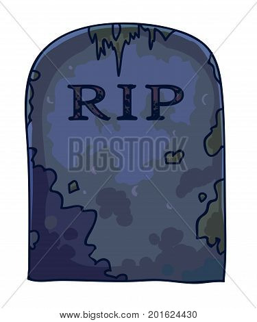 Dirty gravestone with RIP sign and mold stains isolated cartoon vector illustrations on white background. Scary dark ancient tombstone from old abandoned cemetery with rounded top and mud on surface.