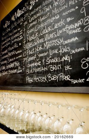 blackboard with  wine list and  wine glass below