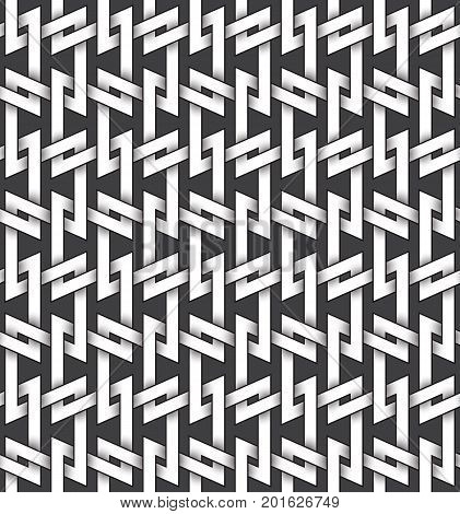 Abstract repeatable pattern background of white twisted strips bands with black strokes. Swatch of intertwined zigzag bands. Seamless pattern in vintage style.
