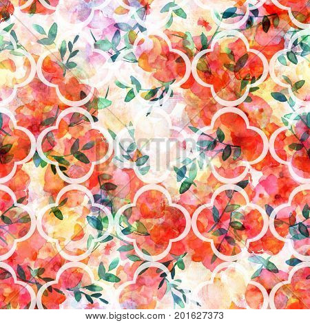 A seamless pattern of a watercolor drawing of a bouquet of flowers with branches of leaves, with a quatrefoil design, on a pastel background, an abstract repeat print