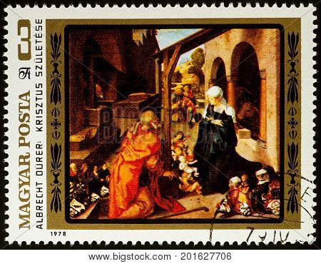 Moscow Russia - August 26 2017: A stamp printed in Hungary shows painting