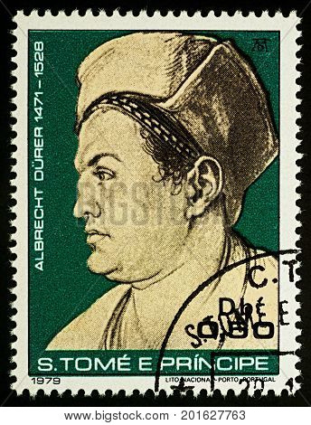 Moscow Russia - August 28 2017: A stamp printed in Sao Tome and Principe shows portrait of Willibald Pirckheimer by Durer series